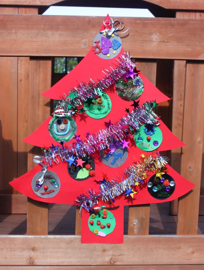Christmas kids craft flat christmas tree decoration Christmas crafts for kids to make at home