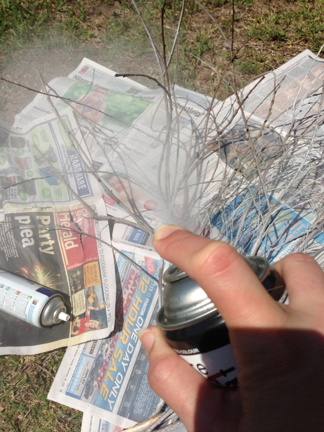 Spray painting the branches
