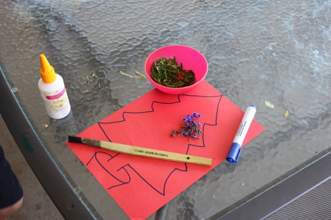 Some craft glue, a marker, coloured paper, leaves and flowers and a brush.