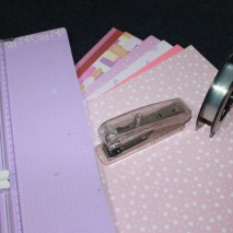 Stapler, fishing line, paper and paper cutter (or scissors)