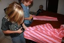Cutting the strip of fabric