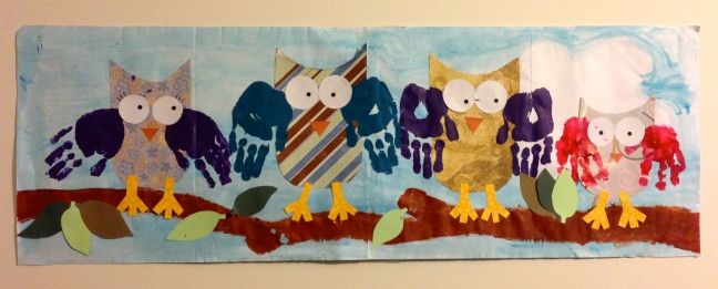 Owl hand print family.