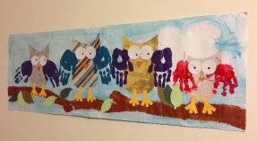 Owl family wall hanging