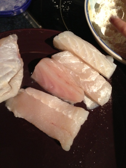 Pink ling fillets cut to size.