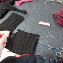 Running stitch along the bottom (inside out), them pull together to gather and tie off