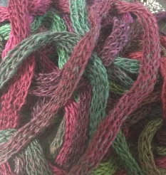 Close up of the pre knitted wool