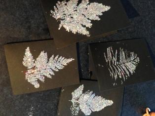 Leaf print cards
