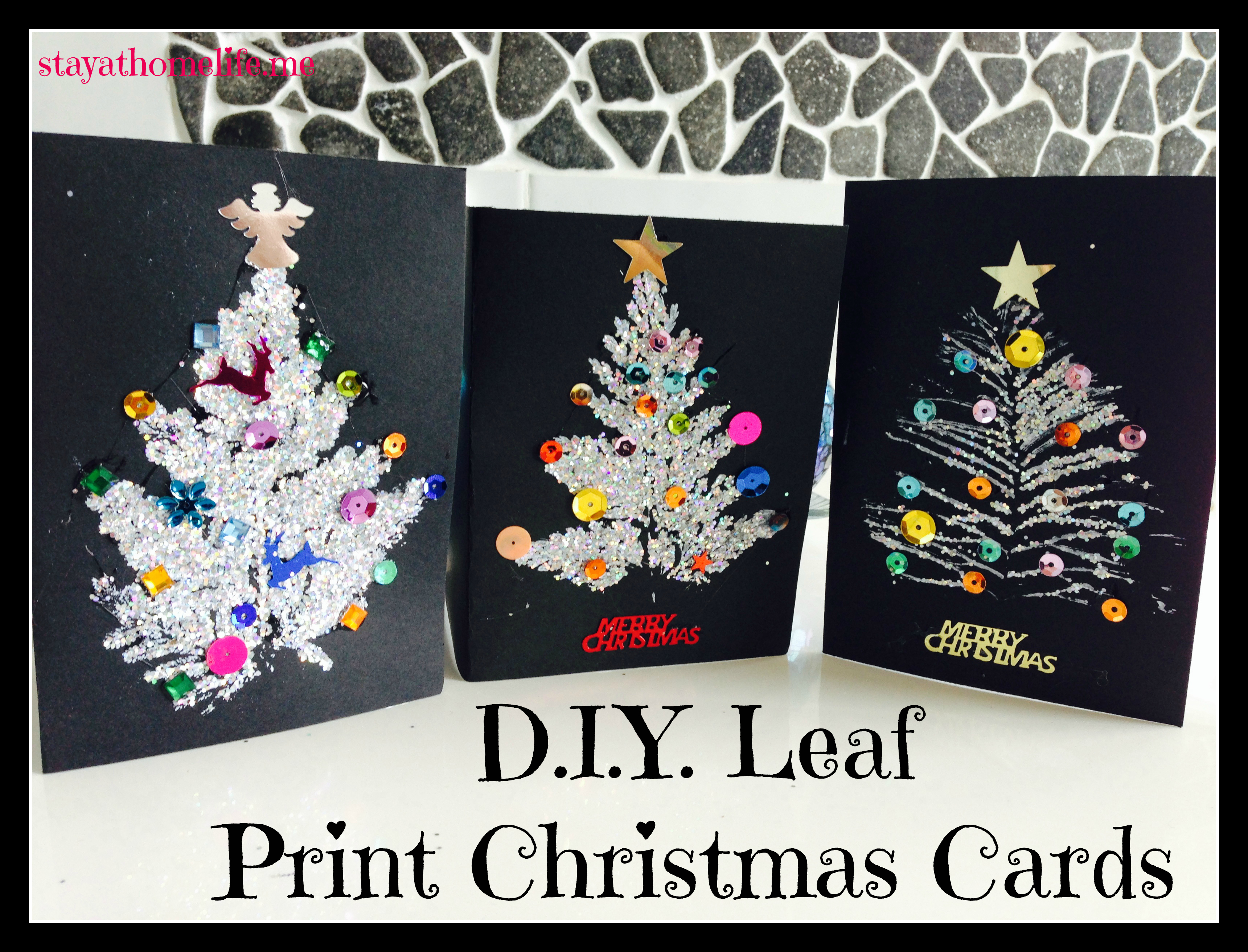D I Y Leaf Print Christmas Cards Stay At Home Life