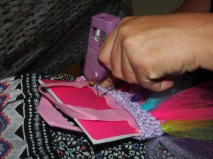 Flue to your bag (card is to stop glue sticking back together