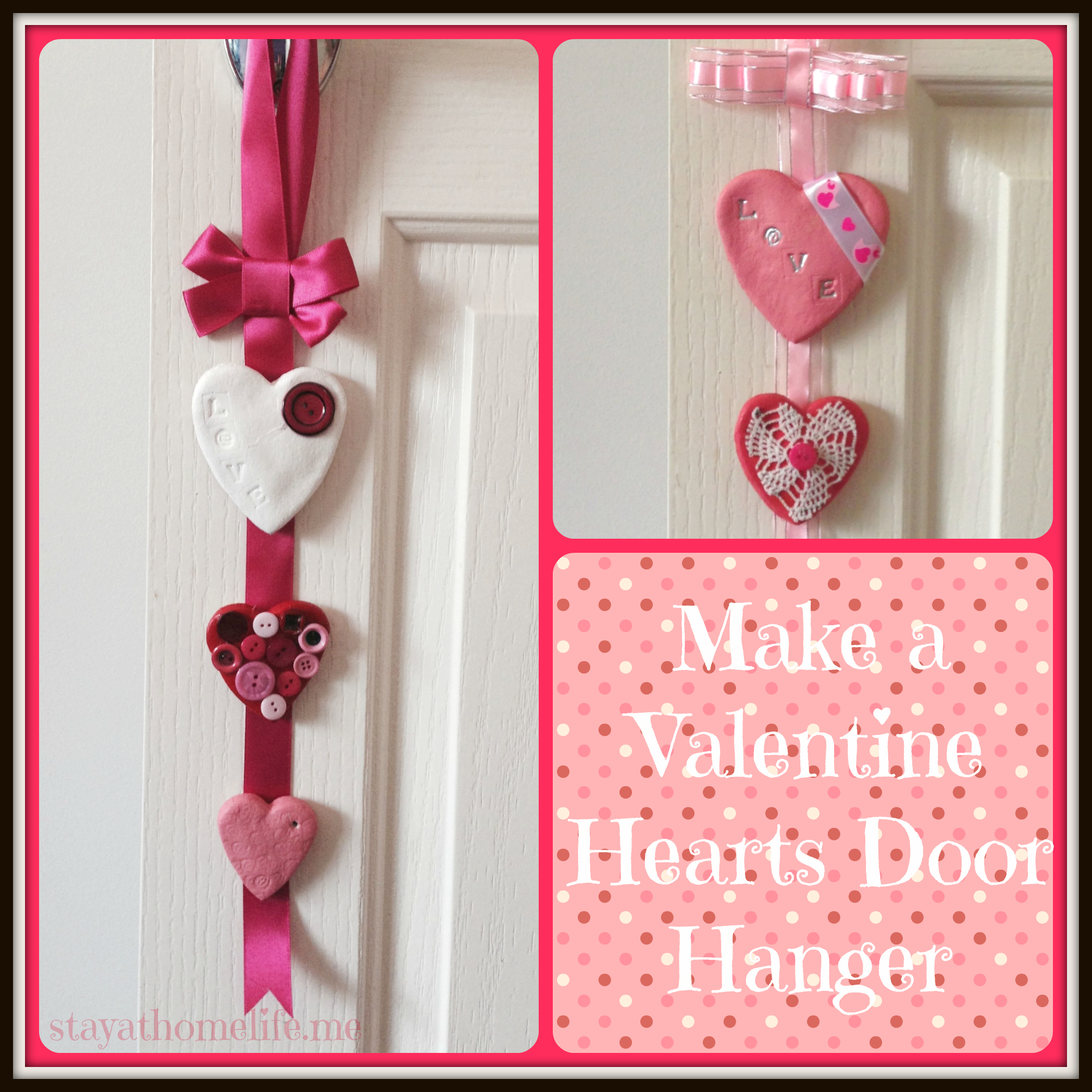 valentine door hanger the main difference is rather than hanging the hearts from strings we hot glued them to a flat ribbon