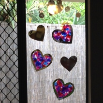 Stained glass heart window.
