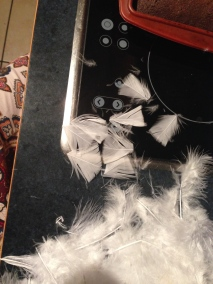 Cut down some feathers to make little wings.