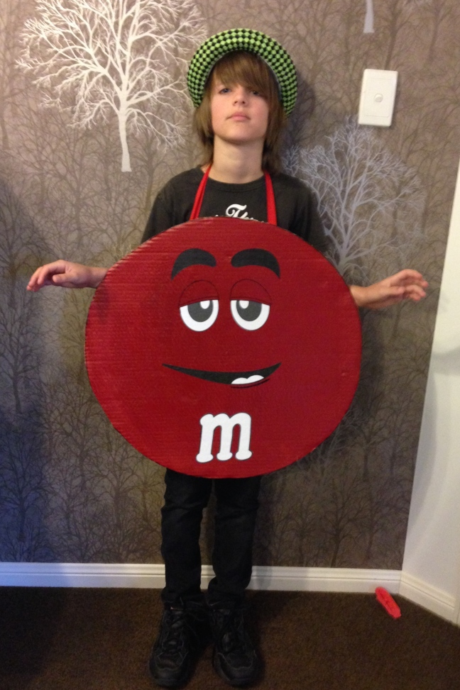 MnM dress up costume.